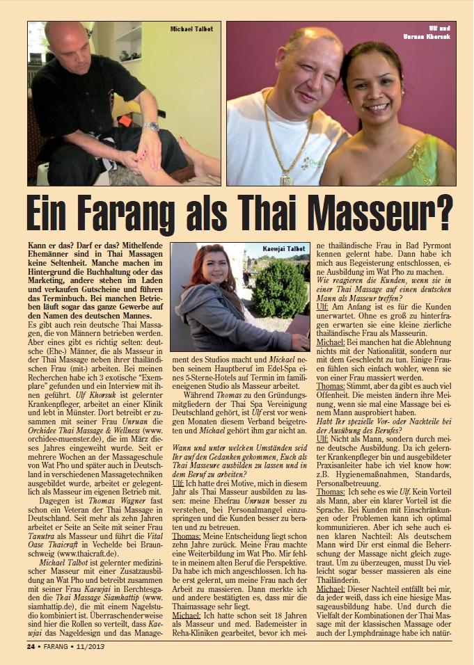 """""""Deutsche Männer als Thai-Masseure ?"""" (Fachartikel FARANG)"""