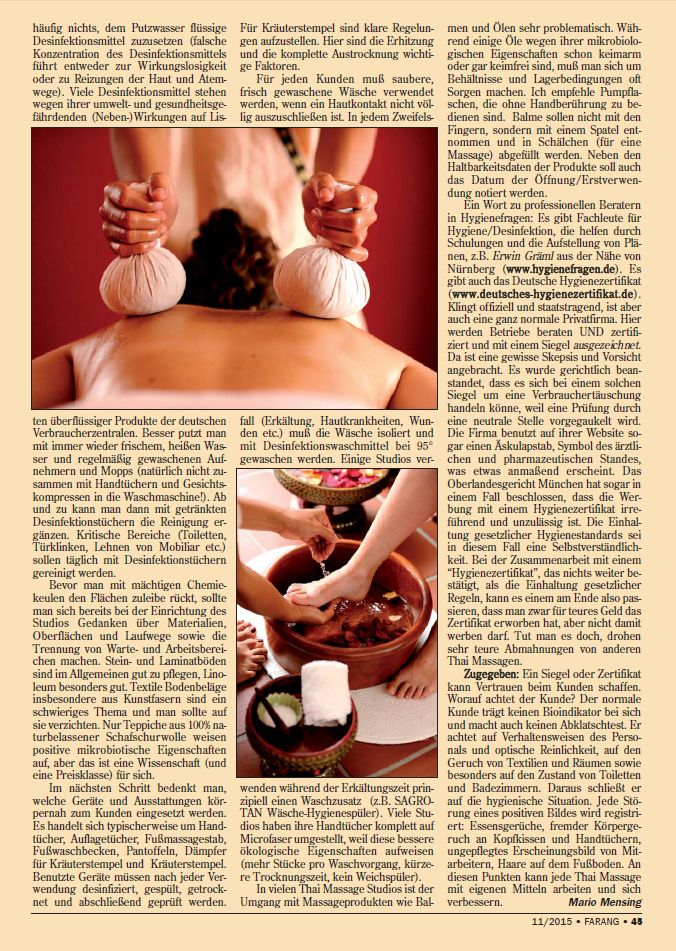 """Hygiene in der Thai Massage"" (Fachartikel FARANG)"